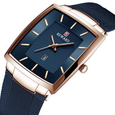 【潮裡潮氣】REWARD商務男錶防水日曆男士方形手錶精鋼網帶石英手錶RD62009M