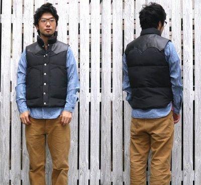 【傑森精品】日本三大牛王 SUGAR CANE 防水材質 肩部 真皮 牛皮拼接 經典 兩袋 羽絨背心 馬甲