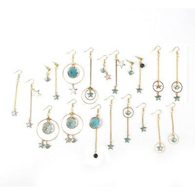 夢幻星空星月耳環 DIY自制手工材料包制作耳夾耳釘飾品配件10件套