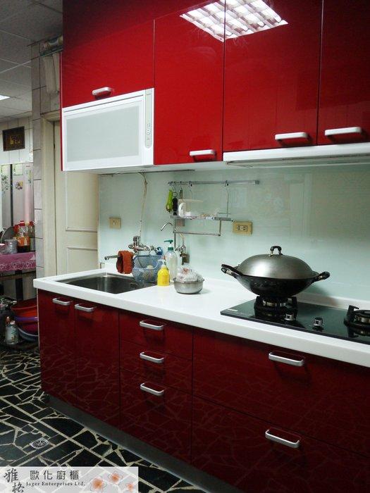 【雅格廚櫃】工廠直營~一字型廚櫃、流理台、三星石、廚具、結晶鋼烤、含櫻花三機