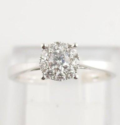 (可缐上無息分期刷卡)鑽石戒指18K白金 主石0.15克拉 附石 0.13克拉 國際戒圉11號