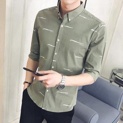 7七分袖襯衫男士 正韓修身印花短袖襯衣百搭潮流休閒中袖寸衫