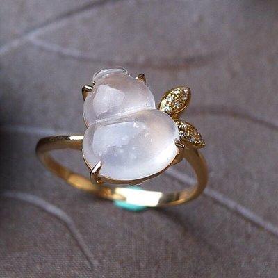 天然A货翡翠18k金伴钻豪华镶嵌 冰润起光葫芦戒指