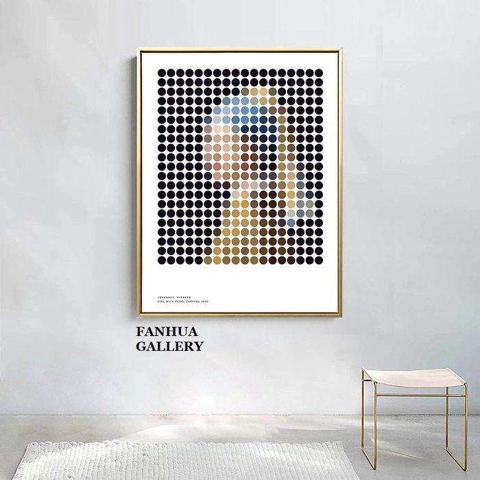 C - R - A - Z - Y - T - O - W - N 戴珍珠耳環的少女維米爾創意掛畫現代簡約抽象波點裝飾畫