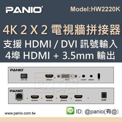 [現貨]4K 2 X 2 橫式方式電視牆拼接器支援HDMI / DVI 訊號輸入《✤PANIO國瑭資訊》HW2220K