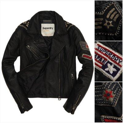 極度乾燥 Superdry Emblem leather jacket 圖騰 騎士 細緻柔軟 真皮 皮衣 外套 S XS