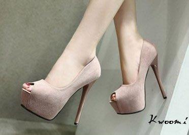 [Kwoomi]顯白肌裸粉色魚口細跟  高跟鞋 晚宴鞋 新娘鞋
