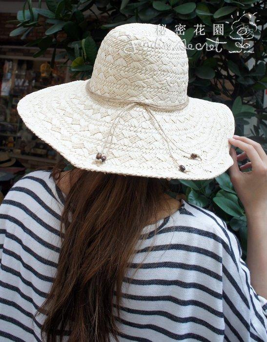 草帽--度假風大帽簷天然草帽/遮陽帽/出國度假/海灘帽--秘密花園
