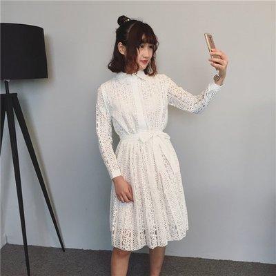 长袖蕾丝连衣裙女2017春季新款宽松显瘦气质淑女打底裙子方领中裙