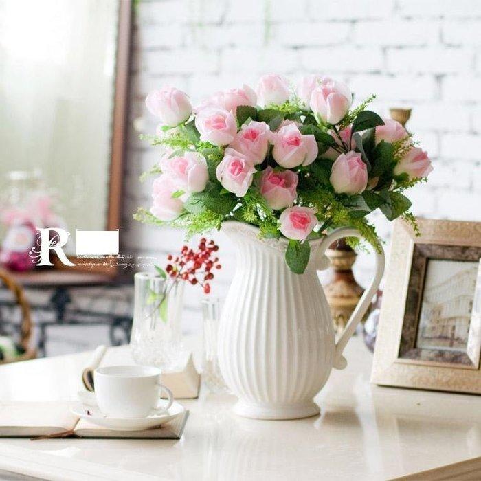 INPHIC-法式小安娜仿真玫瑰花束地中海奶壺2色可選~歐式田園仿真花套裝