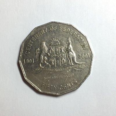 澳洲紀念幣 2001年 50 cent 新南威爾士州徽章-紀念聯邦一百週年 / 50分 硬幣 錢幣
