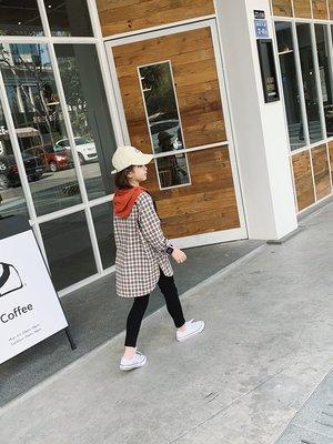 【VIAN】含運女童連帽格子襯衣2019春季新款韓版中大童撞色格紋長款開叉襯衫裙