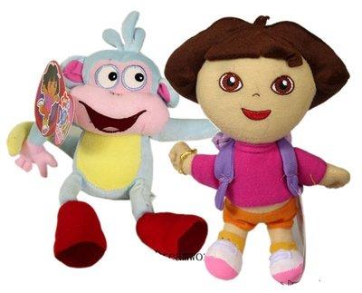 【卡漫迷】 Dora & Boots 玩偶 二入組 22公分 絨毛 娃娃 布偶 朵拉 小猴子 女孩 卡通 愛探險 好朋友