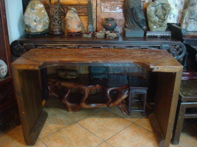早期實木琴桌(浮雕)(136x49.5x82cm)古色古香