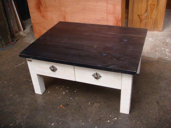 原木工坊~ 室內規劃 原木材質裝潢  粗磨感雙色茶几  新品上市~~
