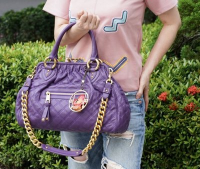 Marc Jacobs C3113000 Quilting Stam Satchel 菱格紋羊皮 紫
