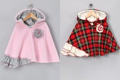 Ginny媽咪【Million Polkadots】Red Polka Dot Poncho 美國刷毛連帽披風外套4-5T 6-7T 現貨