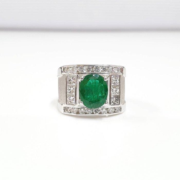 送禮禮物禮品GIA 祖母綠男戒 主石2.83克拉 K金鑽石戒台 配鑽約1.5ct 國際圍17號 大眾當舖 編號5997