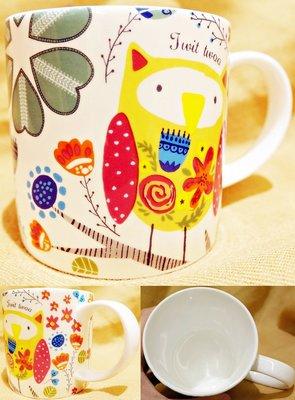 全新從未用過,英國品牌 Ulster Weavers【Twit Twoo 】貓頭鷹設計可愛骨瓷馬克杯,低價起標無底價!