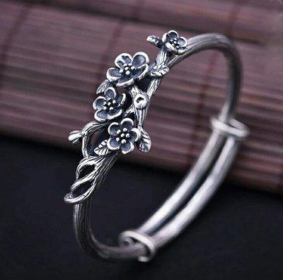 嗨,寶貝銀飾珠寶* 925純銀飾品☆990純銀 復古原創手工設計 梅花推拉純銀手環 手鐲 情人節禮物