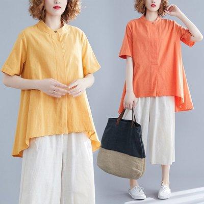 夏季套裝女胖mm寬松大碼不規則亞麻短袖襯衫上衣闊腿七分褲兩件套