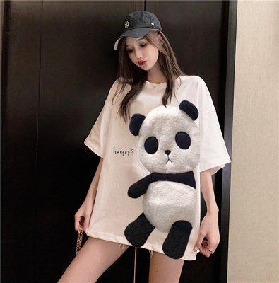 小香風 短袖T恤 時尚穿搭 韓版 ins熊貓中長款寬松上衣半袖白色短袖T恤女學生潮