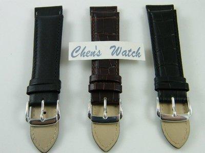 錶帶屋 Oris 藝術家 浪琴 代用 義大利進口 21mm 收18mm鱷魚皮紋牛皮錶帶及黑色小羊皮 現貨