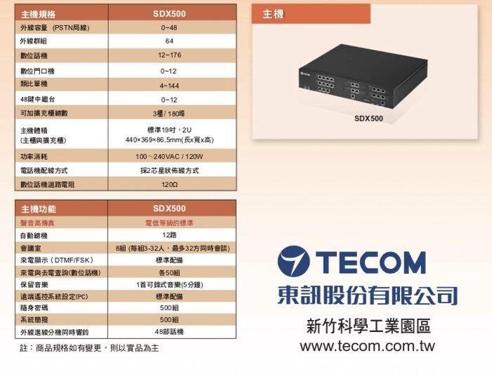 電話總機專業網...東訊SDX-500....6外線28分機4類比單機容量..來電顯示語音總機功能