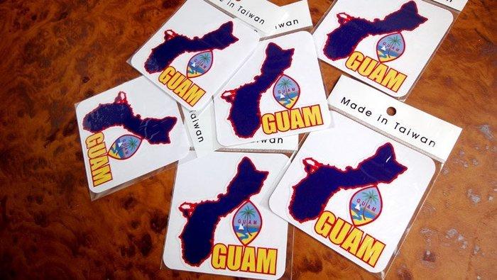 【衝浪小胖】關島州旗地圖抗UV、防水登機箱貼紙/Guam/世界多國款可收集和訂製