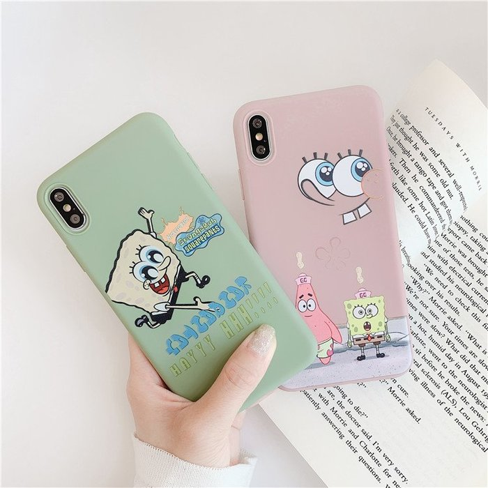 趣味海綿寶寶iphonexsmax手機殼xr蘋果7/8plus童年6S軟殼【每個規格價格不同】
