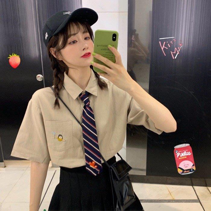 小香風 短袖T恤 時尚穿搭 女裝 韓版 學院風趣味刺繡翻領寬松短袖襯衫POLO領百搭上衣