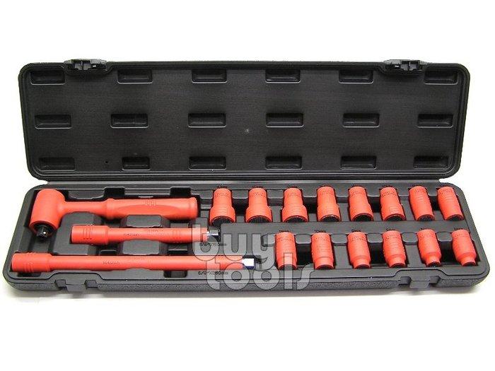 台灣工具-《專業級》三分絕緣棘輪板手套筒組/三分套筒組-17PCS/符合德國IEC60900認證規範/台灣製造「含稅」