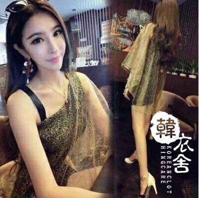【蘑菇小隊】夜店女王 - 女性感夜店斜肩露肩金沙披肩包臀短裙-免運費