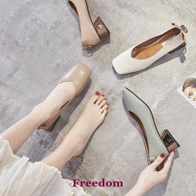 Freedom女鞋鞋夫人方頭奶奶鞋2019春款網紅晚晚鞋百搭中跟淺口瓢鞋粗跟單鞋女