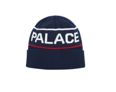 ☆AirRoom☆【現貨】2017AW Palace HANDLE BEANIE LOGO 針織 毛帽 深藍