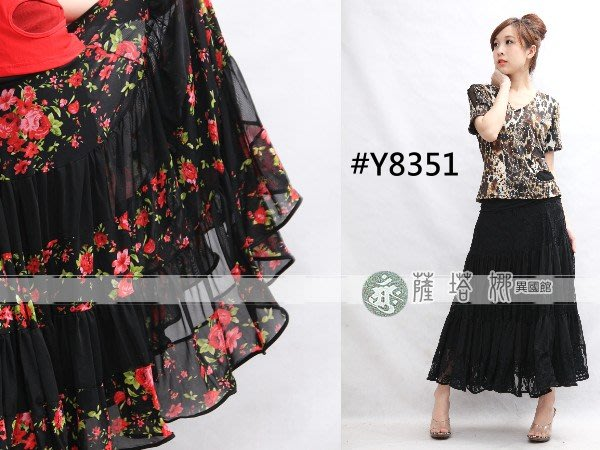 @~薩瓦拉: 只有黑_Y8351_玫瑰花拼接蕾絲長裙