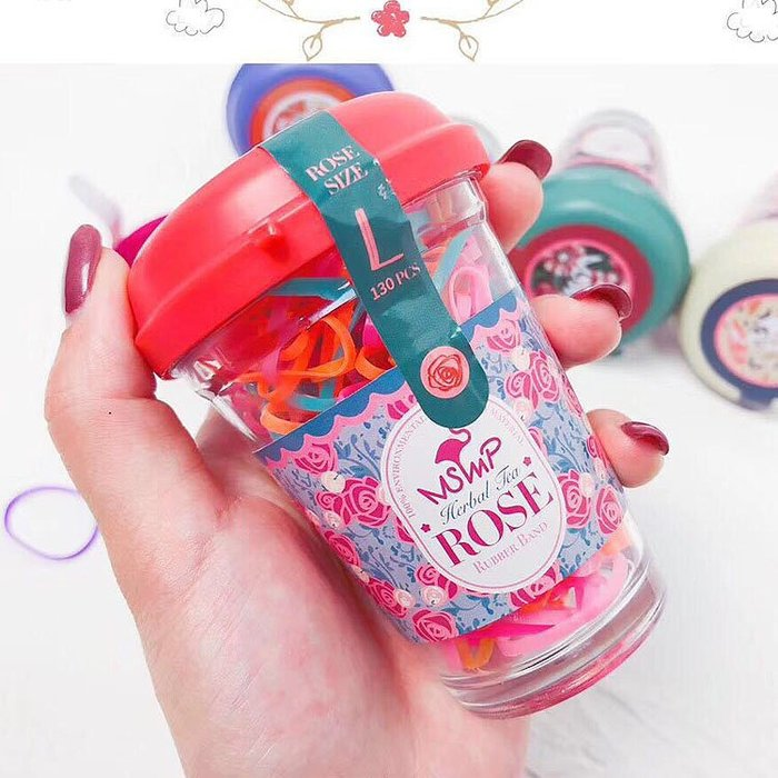 兒童橡皮筋。ROUROU童裝。韓國飾品女童彩色橡皮筋瓶組 0255-239