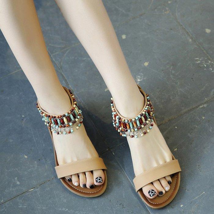 [C.M.平價精品館]37碼現貨/造型超加分波西米亞風串珠流蘇顯白顯瘦舒適好穿平底涼鞋