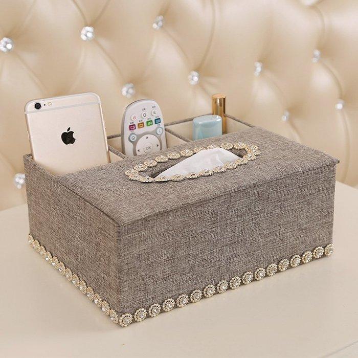 歐式客廳紙巾盒抽紙盒家用紙抽盒多功能餐廳茶幾遙控器棉麻收納盒