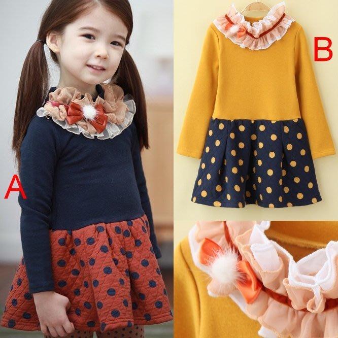 韓版《花領圓點裙》長袖連身洋裝 (J4-3)