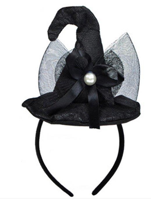 【洋洋小品俏麗巫婆帽髮箍彎魔法帽髮圈】舞會頭兒童變裝兒童造型服萬聖節服裝聖誕節服裝表演角色扮演服裝道具化妝舞會面具