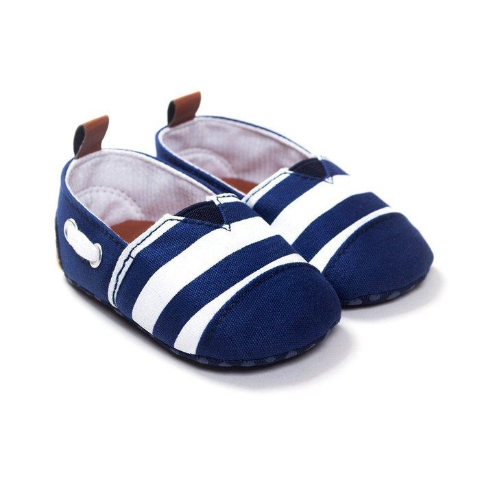 寶貝倉庫~藍白條紋休閒鞋~學步鞋~寶寶鞋~嬰兒鞋~娃娃鞋~童鞋~彌月贈禮~穿脫方便~坐螃蟹車穿