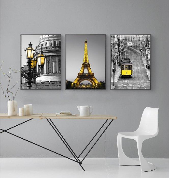 三幅一組油畫布 黑白黃色電車埃菲爾鐵塔路燈 畫芯/畫布/30X40☺暖暖屋☺傢居藝術館