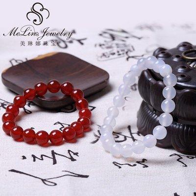 玉石 翡翠 快速出貨 古董美琳娜(珠寶)紅玉髓手鏈天然正品男女學生情侶款轉運佛珠手串