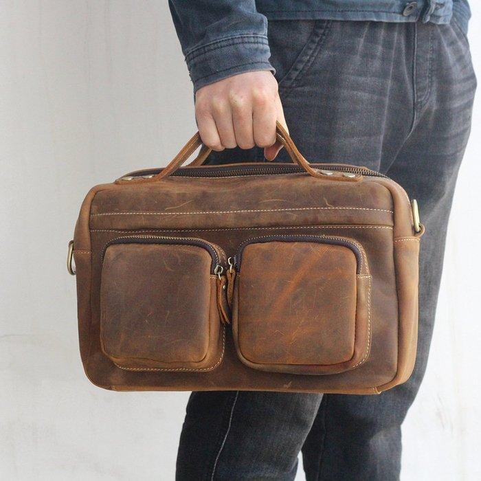 【超值】新款男包橫款復古瘋馬皮休閒包多功能男士單肩斜跨包手提包休閒