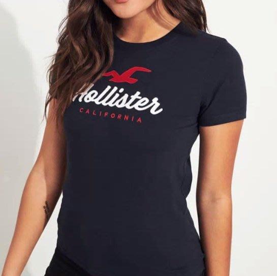 HCO Hollister 車繡 海鷗 短袖 短T 女生 深藍