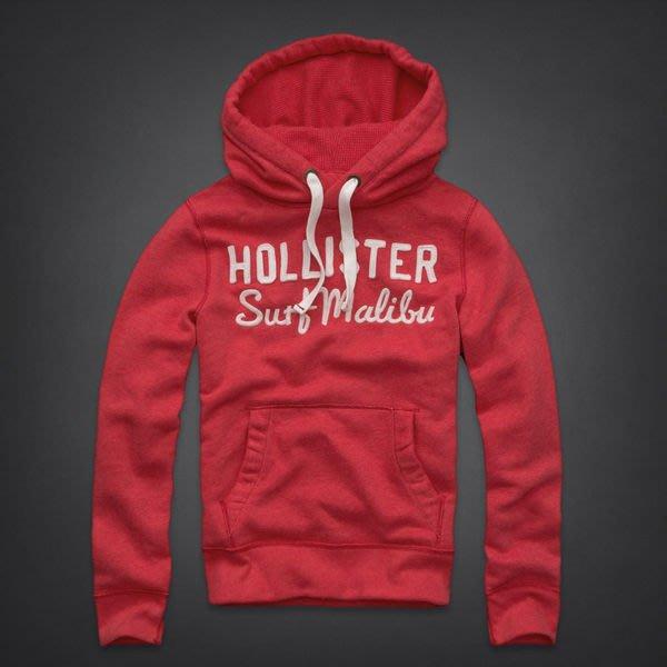 Hollister HCO 男生 Salt Creek Hoodie 刷毛連帽長T 紅 L 現貨