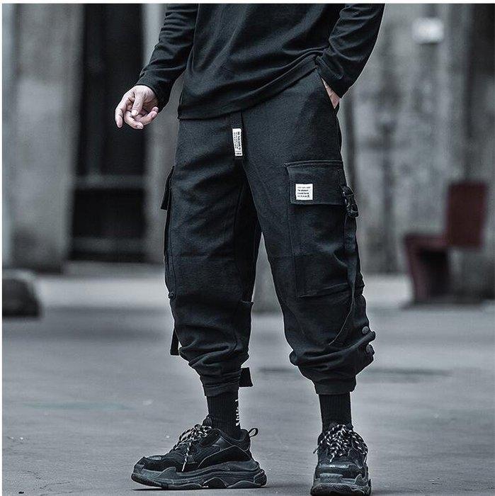 FINDSENSE X 男士  機能風工裝褲男薄款黑色潮牌學生束腳哈倫褲子