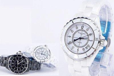 《時光流域》Valentino 范倫鐵諾 高精密全陶瓷香奈兒J12風格晶鑽(日期)男錶/ 女錶-水晶鏡面 台中市