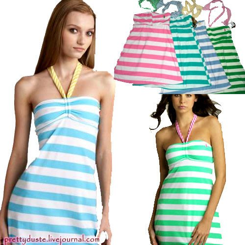 Juicy Couture 高級毛巾布繫頸繞脖性感平口條紋洋裝原價美金128